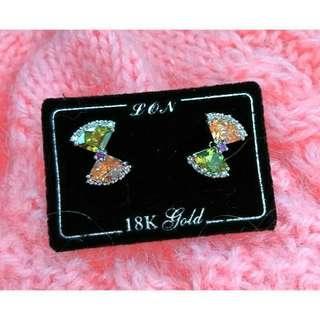 全新轉賣珍藏壓箱珠寶飾品 雙色蝴蝶結水晶鑽石耳針式純銀耳環。原購入價$1480