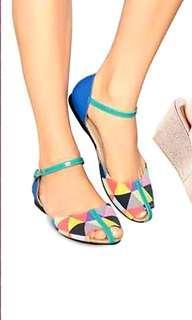 Multicolored Sandals / Peep Toe/ Flats  Size 5