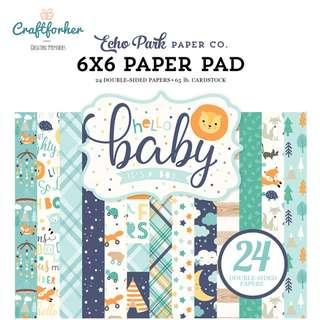 """🚚 ★Paper Pad★ Hello Baby Boy 6"""" x 6"""" Paper Pad, Echo Park Paper for Scrapbooking, Craft Card Making"""