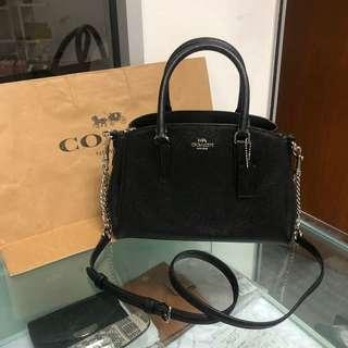 c475c9353bee New arrival Coach mini sage carryall crossbody bag black with silver  hardware