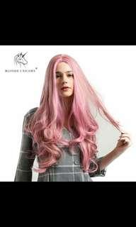 (NO INSTOCKS!)Preorder centre parting Wavy Smoky pink wig *waiting time 15 days after payment is made* chat to buy to order