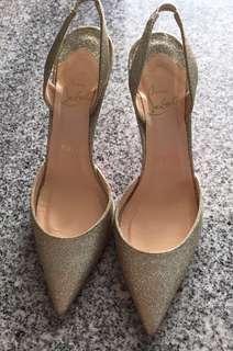 de8deca392d5 Christian louboutin gold glitter heels shoes size 37