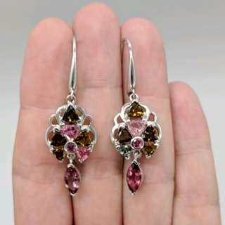 Pink, Amber & Green Tourmaline Earrings, 925 Sterling Silver, NEW