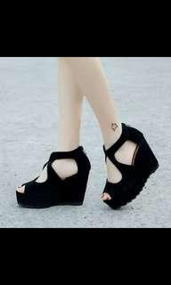 (NO INSTOCKS!)Preorder korean Black suede platform wedges shoes * waiting time 15days after payment is made *chat to buy to order