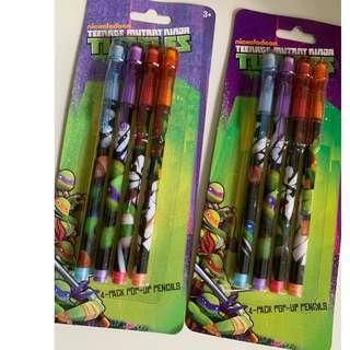 Ninja turtles 4 piece pop up pencil