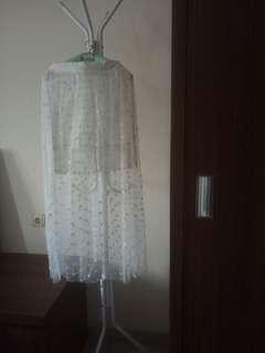 Rok Tulle Tile Tule Transparan Putih White Skirt Tutu