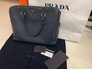 Prada saffiano leather document travel bag