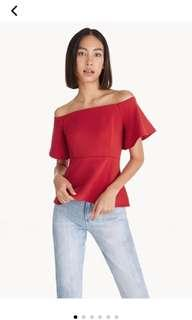 MAROON RED OFF SHOULDER TOP