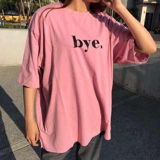 🚚 2001 Otoshi 圓領 bye. 掰掰粉 短袖