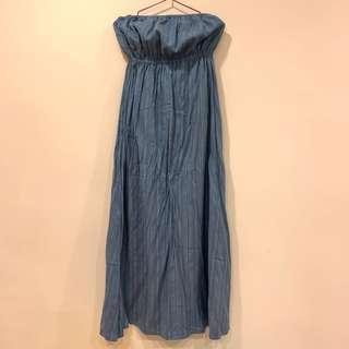 🚚 藍色平口長洋裝