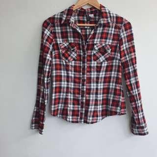 H&M Checkered Button Up Shirt in red