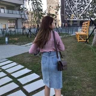 🚚 0207 Otoshi 丹寧系列 後開叉 鬚邊 裙