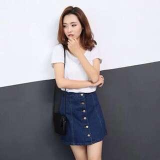 Denim Button Up A Line Skirt