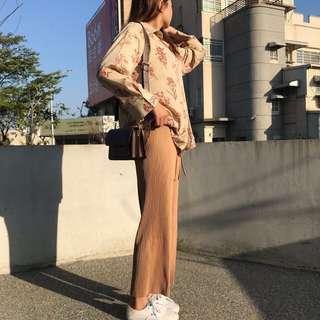 🚚 0209 Otoshi 垂墜 涼感 綁帶 奶茶褲