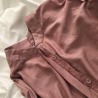 🚚 2007 Otoshi 柔軟 立領 粉色 襯衫