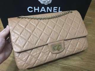 🔥Steal Deal!🔥Chanel Reissue 2.55 Toffee (Camel) Distressed Calf Leather Ghw 227