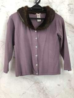 Mango mauve cardigan with faux fur collar