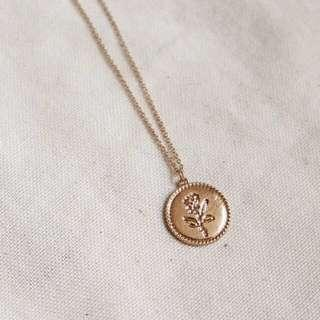 rose coin necklace - gold / silver (kalung)