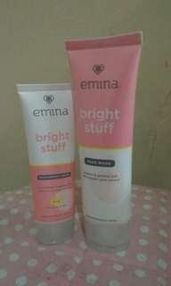 Take all. Emina bright stuff face wash dan moisturizer cream