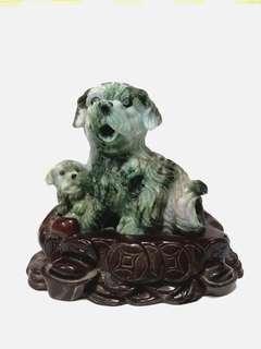 緬甸玉石 擺件 子母犬
