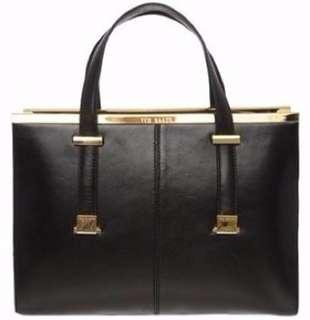 Ted baker cross hatch black leather shoulder bag