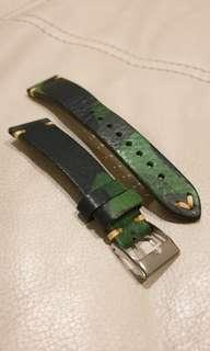 Used Green Camo Leather Strap 20mm