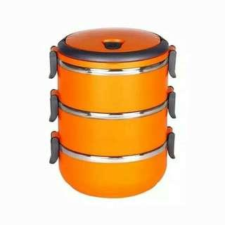 Kotak makan rantang 3 susun stainless steel lunch box - orange
