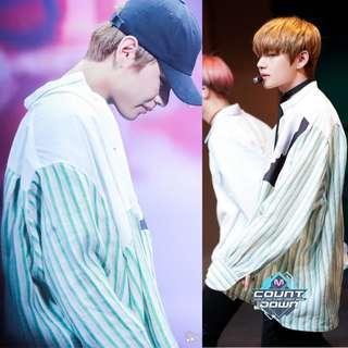 Taehyung Spring Day Green Stripes Shirt