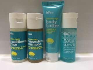 Bliss 旅行套裝 Shampoo Conditioner Bath Shower gel