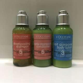 L'occitane travel set 旅行套裝 Shampoo conditioner Body lotion