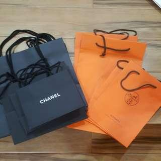 Chanel and Hermes paper bags for sale