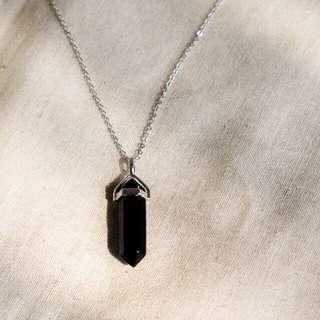 onyx crystal necklace black (silver)  kalung pendant