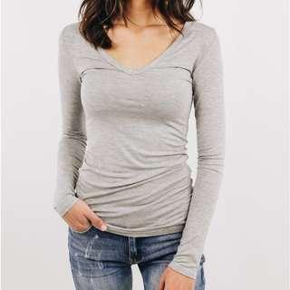 Light Grey V Neck Long Sleeve Top