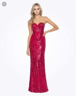 Bariano Red Sequin Dress Size 8-10