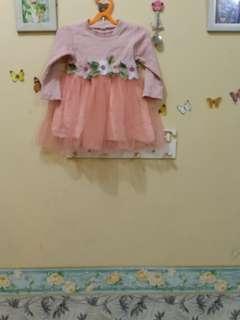 Mididress dress anak peach pink 1 sampai 2 tahun import