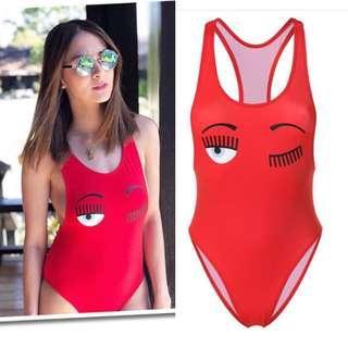 Chiara Ferragni Red Onepiece suit