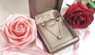 鑽石耳環項鍊套裝