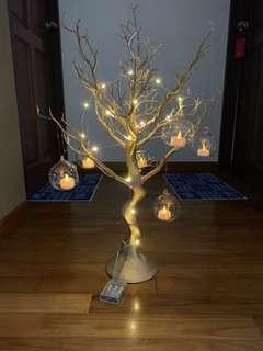 SELLING Spray-painted gold plastic tree with terrarium glass balls and LED tea candles