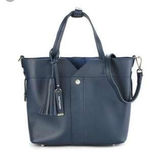 Hush Puppies YG satchel in navy as new condition sling/crossbody/tote