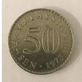 Coin Lama 50sen Tahun 1973