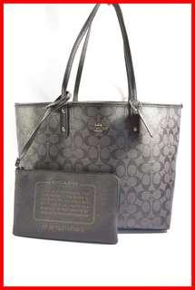 ORIGINAL Coach City Black Smoke Reversible Tote Bag Brand New and Complete Inclusion Free Shipping and Express Shipping Nationwide