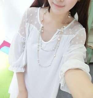 雪紡紗白色長版