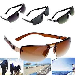 🚚 Men Fashion Rectangle Sunglasses with Protection Case