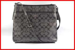 ORIGINAL Coach Black Smoke Black Signature File Bag Sling Bag Brand New and Complete Inclusion Free Shipping and Express Shipping Nationwide