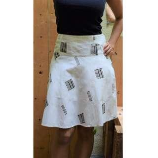 White Above-Knee Skirt with simple Patchwork patterns