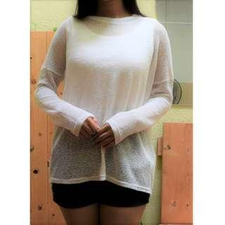 Cotton On White Woolen Mesh Over sized Long Sleeved Top