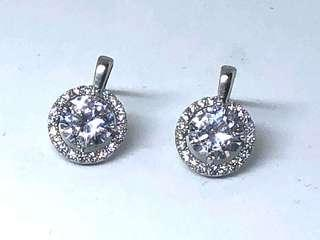 Cubic Zirconia Halo Stud Earrings in Silver 925