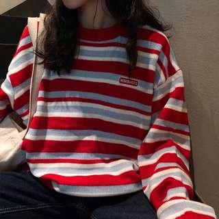 條紋針織毛衣(紅/黑)