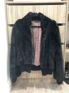 Black fur crop coat