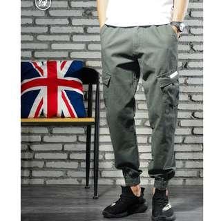 "Ash Grey Cargo Stretchable Jogger Pants - XL (W 33""-36"")"